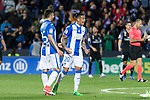 Luciano Neves of Club Deportivo Leganes celebrates after scoring a goal during the match of  La Liga between Club Deportivo Leganes and Real Madrid at Butarque Stadium  in Leganes, Spain. April 05, 2017. (ALTERPHOTOS / Rodrigo Jimenez)