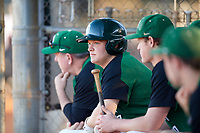 Dartmouth Big Green first baseman Michael Calamari (3) in the dugout during a game against the Northeastern Huskies on March 3, 2018 at North Charlotte Regional Park in Port Charlotte, Florida.  Northeastern defeated Dartmouth 10-8.  (Mike Janes/Four Seam Images)