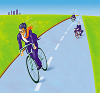 Businessman riding racing cycle on road getting rid of pursuers ExclusiveImage