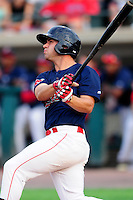 Lowell Spinners left fielder Tyler Spoon (12) watches as his first professional home run clears the left field wall during a game versus the Hudson Valley Renegades at Lelacheur Park on August 30, 2015 in Lowell, Massachusetts.  (Ken Babbitt/Four Seam Images)