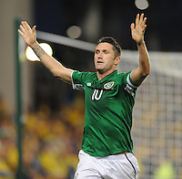 6th September 2013; Robbie Keane, Ireland, celebrates after putting his side ahead 1-0. 2014 FIFA World Cup Qualifier, Group C,  Republic of Ireland v Sweden, Aviva Stadium, Dublin. Picture credit: Tommy Grealy/actionshots.ie.