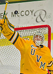 19 February 2016: University of Vermont Catamount Goaltender Packy Munson, a Freshman from Hugo, MN, watches one sail high over the net in the third period against the Boston College Eagles at Gutterson Fieldhouse in Burlington, Vermont. The Eagles defeated the Catamounts 3-1 in the first game of their weekend series. Mandatory Credit: Ed Wolfstein Photo *** RAW (NEF) Image File Available ***