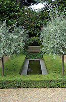 A simple stone-edged pool is set amongst geometric box hedges and low-growing trees