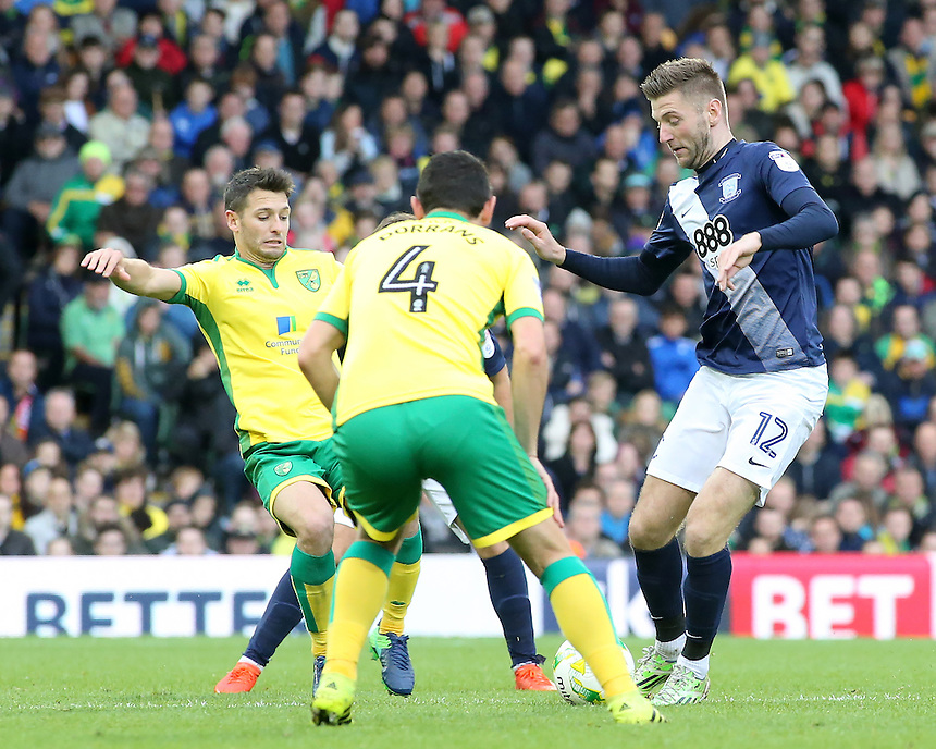 Preston North End's Paul Gallagher tries to get past Norwich City's Graham Dorrans<br /> <br /> Photographer David Shipman/CameraSport<br /> <br /> The EFL Sky Bet Championship - Norwich City v Preston North End - Saturday 22nd October 2016 - Carrow Road - Norwich<br /> <br /> World Copyright &copy; 2016 CameraSport. All rights reserved. 43 Linden Ave. Countesthorpe. Leicester. England. LE8 5PG - Tel: +44 (0) 116 277 4147 - admin@camerasport.com - www.camerasport.com