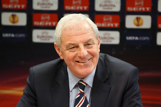 Walter Smith laughing at the UEFA Europa League press conference in EIndhoven