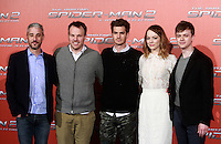 "Da sinistra, il produttore Matt Tolmach, il regista Marc Webb e gli attori Andrew Garfield, Emma Stone e Dane DeHaan posano durante un photocall per la presentazione del film ""The Amazing Spider-Man 2 - Il potere di Electro"" a Roma, 14 aprile 2014.<br /> From left, producer Matt Tolmach, director Marc Webb and actors Andrew Garfield, Emma Stone and Dane DeHaan pose during a photocall for the presentation of the movie ""The Amazing Spider-Man 2"" in Rome, 14 April 2014.<br /> UPDATE IMAGES PRESS/Isabella Bonotto"