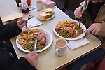 Steak and Kidney pie, chips and mushy peas mugs of tea. Lunch. Regency Café Westminster London SW1 UK.