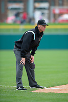 Umpire Chris Graham during an Eastern League game between the Indianapolis Indians and Columbus Clippers on April 30, 2019 at Victory Field in Indianapolis, Indiana. Columbus defeated Indianapolis 7-6. (Zachary Lucy/Four Seam Images)