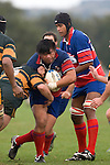 Luke Mealamu is driven sideways by Brendon Farrell. Counties Manukau Premier Club Rugby semi final game between Ardmore Marist & Pukekohe played at Bruce Pulman Park Papakura on Saturday July 19th 2008. Ardmore Marist won 18 - 15 & will meet Patumahoe in the final next weekend.