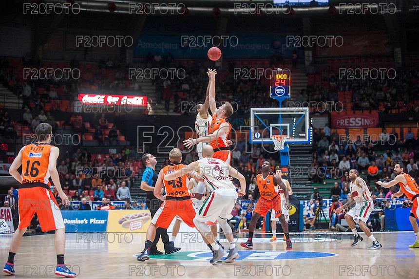 VALENCIA, SPAIN - NOVEMBER 3: Match start during EUROCUP match between Valencia Basket Club and CAI Zaragozaat Fonteta Stadium on November 3, 2015 in Valencia, Spain