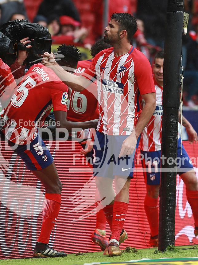 Atletico Madrid's Spanish forward Diego Costa  celebrates after scoring<br /> Atletico de Madrid vs Getafe Spanish League football match, La Liga Santander, at Wanda Metropolitano stadium in Madrid on January 6, 2017