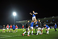 The Bath Rugby forwards practise the lineout during the pre-match warm-up. European Rugby Champions Cup match, between Leinster Rugby and Bath Rugby on January 16, 2016 at the RDS Arena in Dublin, Republic of Ireland. Photo by: Patrick Khachfe / Onside Images