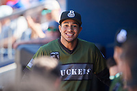 Biloxi Shuckers first baseman Jake Gatewood (3) in the dugout during a game against the Jacksonville Jumbo Shrimp on May 6, 2018 at MGM Park in Biloxi, Mississippi.  Biloxi defeated Jacksonville 6-5.  (Mike Janes/Four Seam Images)