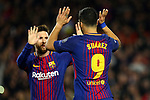 UEFA Champions League 2017/2018.<br /> Quarter-finals 1st leg.<br /> FC Barcelona vs AS Roma: 4-1.<br /> Luis Suarez &amp; Lionel Messi.