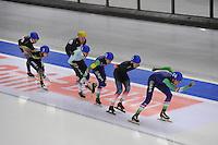 SCHAATSEN: BERLIJN: Sportforum Berlin, 07-12-2014, ISU World Cup, Mass Start Men, Arjan Stroetinga (#25), Alexis Contin (#22), Jorrit Bergsma (#24), ©foto Martin de Jong