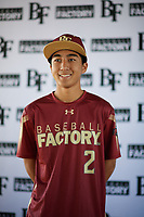 Kaysen Kajiwara (2) of Damien Memorial Schools in Mililani, Hawaii during the Baseball Factory All-America Pre-Season Tournament, powered by Under Armour, on January 12, 2018 at Sloan Park Complex in Mesa, Arizona.  (Zachary Lucy/Four Seam Images)