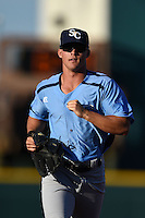 Charlotte Stone Crabs outfielder Braxton Lee (30) jogs into the dugout during a game against the Bradenton Marauders on April 22, 2015 at McKechnie Field in Bradenton, Florida.  Bradenton defeated Charlotte 7-6.  (Mike Janes/Four Seam Images)