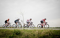 the breakaway group in 'De Moeren' (open flatlands)<br /> <br /> 43rd Driedaagse Brugge-De Panne 2019 <br /> One day race (1.UWT) from Brugge to De Panne BEL (200km)<br /> <br /> ©kramon