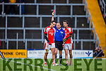 Kerry legend Tom O'Sullivan Rathmore receives a red card from referee Padraig O'Sullivan against Legion in the O'Donoghue cup final in Fitzgerald Stadium on Saturday
