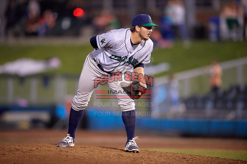 Cedar Rapids Kernels relief pitcher Tom Hackimer (17) looks in for the sign during a game against the Dayton Dragons on May 10, 2017 at Fifth Third Field in Dayton, Ohio.  Cedar Rapids defeated Dayton 6-5 in ten innings.  (Mike Janes/Four Seam Images)