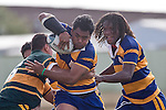 H. Halaleua has J. Calcaga in support as he tries to evade the tackle of Daniel Crichton. CMRFU Counties Power Premier Club Rugby game between Patumahoe & Pukekohe played at Patumahoe on April 12th, 2008..The halftime score was 10 all with Pukekohe going on to win 23 - 18.