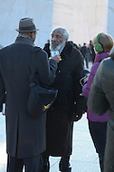 January 16, 2012  (Washington, DC)  Comedian/activist Dick Gregory is interviewed after participating in a wreath laying ceremony at the MLK Memorial in Washington. (Photo by Don Baxter/Media Images International)