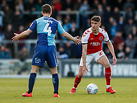 Fleetwood Town's Harrison Biggins competing with Wycombe Wanderers' Dominic Gape <br /> <br /> Photographer Andrew Kearns/CameraSport<br /> <br /> The EFL Sky Bet League One - Wycombe Wanderers v Fleetwood Town - Saturday 4th May 2019 - Adams Park - Wycombe<br /> <br /> World Copyright © 2019 CameraSport. All rights reserved. 43 Linden Ave. Countesthorpe. Leicester. England. LE8 5PG - Tel: +44 (0) 116 277 4147 - admin@camerasport.com - www.camerasport.com