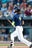Right fielder Gene Cone (9) of the Columbia Fireflies bats in a game against the Lexington Legends on Thursday, June 8, 2017, at Spirit Communications Park in Columbia, South Carolina. Columbia won, 8-0. (Tom Priddy/Four Seam Images)