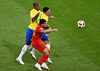 KAZAN - RUSIA, 06-07-2018: FAGNER (Der) y FERNANDINHO (Atrás) jugadores de Brasil disputan el balón con Eden HAZARD (C) (Izq) jugador de Bélgica durante partido de cuartos de final por la Copa Mundial de la FIFA Rusia 2018 jugado en el estadio Kazan Arena en Kazán, Rusia. / FAGNER (R) and FERNANDINHO (back) players of Brazil fight the ball with Eden HAZARD (C) (L) player of Belgium during match of quarter final for the FIFA World Cup Russia 2018 played at Kazan Arena stadium in Kazan, Russia. Photo: VizzorImage / Julian Medina / Cont