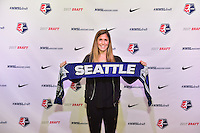 Los Angeles, CA - Thursday January 12, 2017: Katie Johnson during the 2017 NWSL College Draft at JW Marriott Hotel.