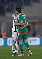 Calcio, Serie A: Lazio vs Juventus. Roma, stadio Olimpico, 4 dicembre 2015.<br /> Juventus&rsquo; Leonardo Bonucci, left, and Gianluigi Buffon celebrate at the end of the Italian Serie A football match between Lazio and Juventus at Rome's Olympic stadium, 4 December 2015. Juventus won 2-0.<br /> UPDATE IMAGES PRESS/Isabella Bonotto
