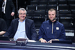 WINSTON-SALEM, NC - FEBRUARY 24: Notre Dame radio broadcasters Jack Nolan (left) and Zach Hillesland (right). The Wake Forest University Demon Deacons hosted the University of Notre Dame Fighting Irish on February 24, 2018 at Lawrence Joel Veterans Memorial Coliseum in Winston-Salem, NC in a Division I men's college basketball game. Notre Dame won the game 76-71.