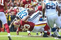 Landover, MD - September 16, 2018: Washington Redskins defensive end Jonathan Allen (93) tackles Indianapolis Colts running back Marlon Mack (25) during the  game between Indianapolis Colts and Washington Redskins at FedEx Field in Landover, MD.   (Photo by Elliott Brown/Media Images International)