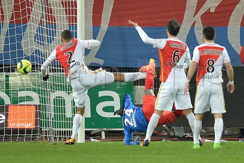 04.03.2016. Caen, France. French League 1 football. Caen versus Monaco.  Christian KOUAKOU (mon) with the overhead kick shot and goal for Caen