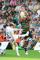 Samu Manoa of Northampton Saints attempts to block the clearance kick of Will Chudley of Exeter Chiefs during the Aviva Premiership match between Northampton Saints and Exeter Chiefs at Franklin's Gardens on Sunday 9th September 2012 (Photo by Rob Munro)