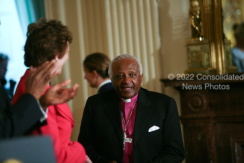Washington, DC - August 12, 2009 -- Archbishop Emeritus Desmond Mpilo Tutu awaits the start of the program where he will be presented the 2009 Medal of Freedom by United States President Brack Obama in Washington, DC on Wednesday, August 12, 2009.  The award is the highest honor a civilian can achieve for being recognized for their outstanding achievements in life. The award were given to Stephen Hawking, Ted Kennedy, Billie Jean King, Harvey Milk (posthumously) , Sandra Day O'Connor, Desmond Tutu, Dr. Pedro Jose Greer, Nancy Goodman Brinker, Jack Kemp (posthumously), Reverend Joseph Lowery, Dr. Joseph Medicine Crow, Mary Robinson, Janet Davison Rowley, Dr. Muhammad Yunus, Chita Rivera, and Sidney Poitier..Credit: Gary Fabiano / Pool via CNP