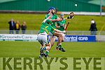 Anthony O'Carroll Ballyduff in action against Conor O'Keeffe Lixnaw in the Senior County Hurling Final in Austin Stack Park on Sunday