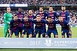 Players of FC Barcelona line up and pose for a photo during their Supercopa de Espana Final 2nd Leg match between Real Madrid and FC Barcelona at the Estadio Santiago Bernabeu on 16 August 2017 in Madrid, Spain. Photo by Diego Gonzalez Souto / Power Sport Images