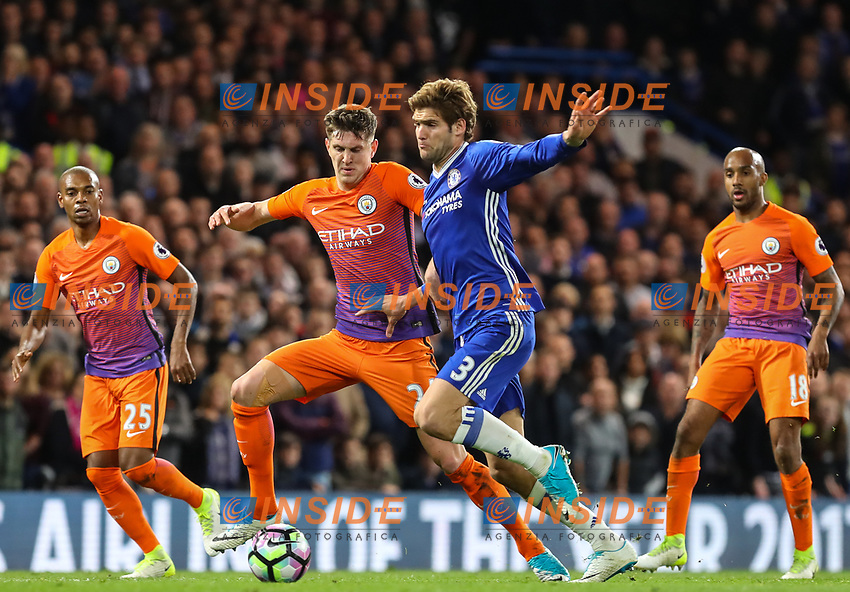 Marcos Alonso of Chelsea and John Stones of Manchester City during the Premier League match between Chelsea and Manchester City at Stamford Bridge on April 5th 2017 in London, England.<br /> Foto PHC Images / Panoramic / Insidefoto <br /> ITALY ONLY