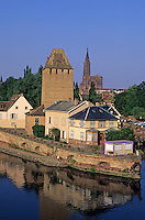 France,Alsace,Europe,Departement 67,Bas-Rhin,Strasbourg,Cathedral,Covered bridge,View from barrage Vauban