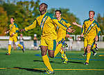 18 September 2013: University of Vermont Catamount Forward Bernard Yeboah, a Freshman from Worcester, MA, celebrates scoring against the Hofstra University Pride at Virtue Field in Burlington, Vermont. The Catamounts defeated the visiting Pride 2-1. Mandatory Credit: Ed Wolfstein Photo *** RAW (NEF) Image File Available ***