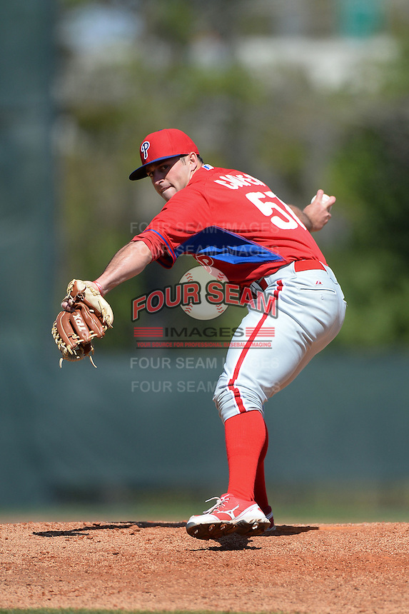 Philadelphia Phillies pitcher Zach Cooper (57) during a minor league spring training game against the Pittsburgh Pirates on March 18, 2014 at the Carpenter Complex in Clearwater, Florida.  (Mike Janes/Four Seam Images)