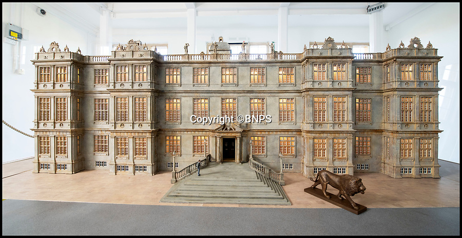 BNPS.co.uk (01202 558833)<br /> Pic: PhilYeomans/BNPS<br /> <br /> Elizabethan facade.<br /> <br /> This stunning model of one of Britain's finest stately homes has been painstakingly restored after languishing in a store room for the last seven years.<br /> <br /> The 1/25 scale model of Longleat House in Wiltshire was commissioned by the 6th Marquess of Bath in 1988 and went on display in the 16th Century mansion's butchery.<br /> <br /> But it was broken up into 50 pieces and put into storage when the home underwent renovations several years ago.<br /> <br /> Kim Ward, 60, and his six man team have spent the past two months restoring the model to its former glory.