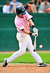 """18 July 2010: Vermont Lake Monsters infielder Jason Martinson in action against the Staten Island Yankees at Centennial Field in Burlington, Vermont. The Lake Monsters, dressed in their Breast Cancer Awareness """"Pinks"""", fell to the Yankees 9-5 in NY Penn League action. Mandatory Credit: Ed Wolfstein Photo"""