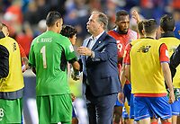 Harrison, N.J. - Friday September 01, 2017:   Keylor Navas, Bruce Arena during a 2017 FIFA World Cup Qualifying (WCQ) round match between the men's national teams of the United States (USA) and Costa Rica (CRC) at Red Bull Arena.