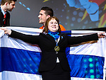 Lille - France- 05 October 2014 --  Euroskills 2014 competition, closing ceremony and medals. -- Team Finland - Johanna Eloranta Bronze, pronssi, laatoitus / Wall and Floor Tiling. -- PHOTO: SkillsFinland / Juha ROININEN - EUP-IMAGES
