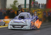 May 20, 2016; Topeka, KS, USA; NHRA funny car driver Jack Beckman runs the fastest speed in funny car history with a speed of 332.59 mph during qualifying for the Kansas Nationals at Heartland Park Topeka. Mandatory Credit: Mark J. Rebilas-USA TODAY Sports