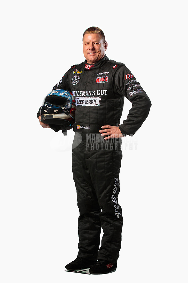 Feb 6, 2019; Pomona, CA, USA; NHRA funny car driver Jim Campbell poses for a portrait during NHRA Media Day at the NHRA Museum. Mandatory Credit: Mark J. Rebilas-USA TODAY Sports