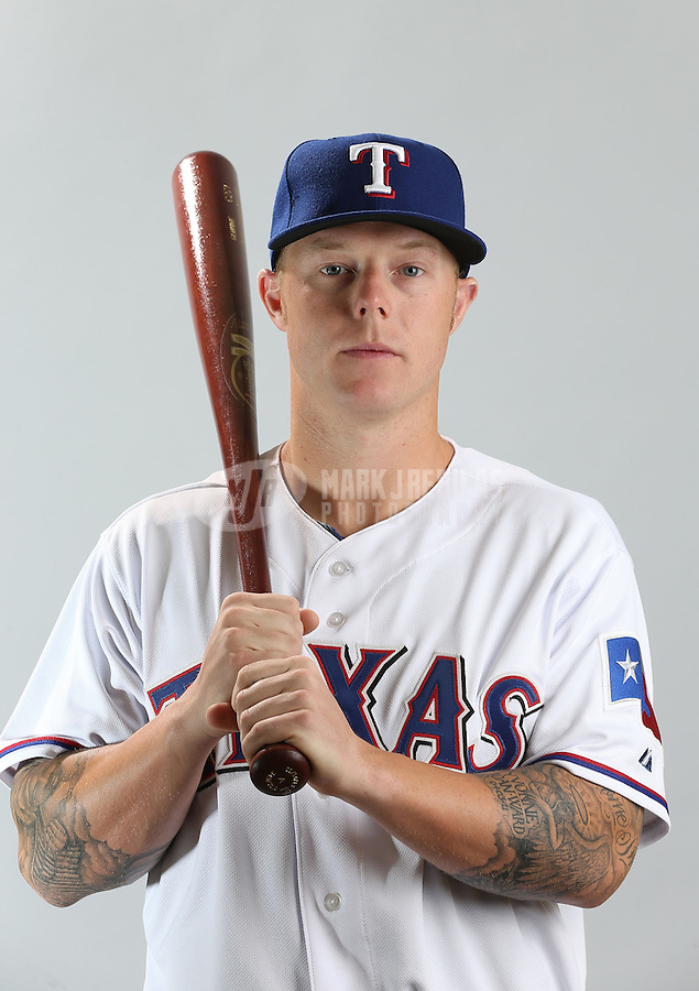 Feb. 20, 2013; Surprise, AZ, USA: Texas Rangers outfielder Aaron Cunningham poses for a portrait during photo day at Surprise Stadium. Mandatory Credit: Mark J. Rebilas-