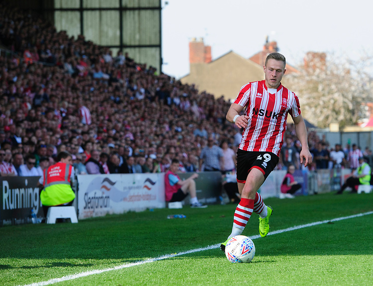 Lincoln City's Danny Rowe<br /> <br /> Photographer Chris Vaughan/CameraSport<br /> <br /> The EFL Sky Bet League Two - Lincoln City v Tranmere Rovers - Monday 22nd April 2019 - Sincil Bank - Lincoln<br /> <br /> World Copyright © 2019 CameraSport. All rights reserved. 43 Linden Ave. Countesthorpe. Leicester. England. LE8 5PG - Tel: +44 (0) 116 277 4147 - admin@camerasport.com - www.camerasport.com
